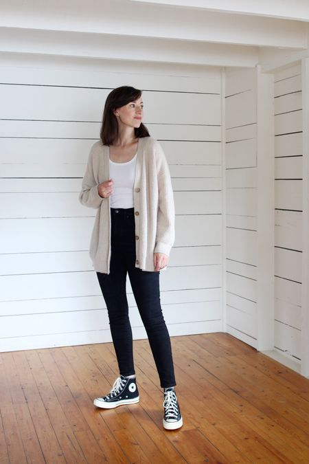 My favourite black skinny jeans, on sale for $50 USD! See the full review on the blog.   Cardigan is Jenni Kayne (use LEE15 FOR 15% Off any time) Top & Jeans are Everlane (TTS)  Converse (TTS)