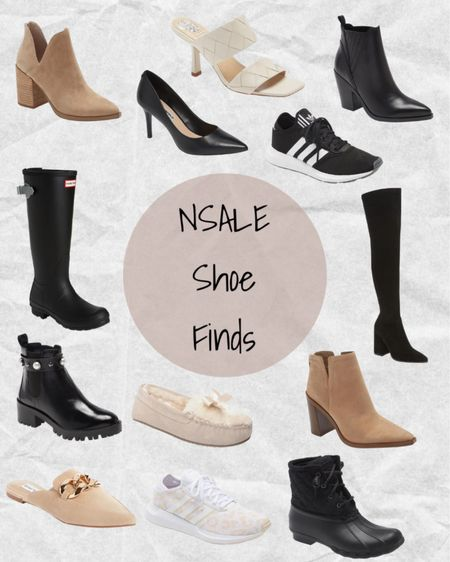 Nordstrom Anniversary Sale shoe finds: Steve Madden booties, Vince Camuto booties, Vince Camuto mule sandals, Marc Fisher booties, Hunter black rain boots, Steve Madden thigh high black boots, Steve Madden tan mules with gold chain, Minnetonka pink slippers, Karl Lagerfeld black Chelsea boots with pearl accents, Adidas sneakers, Sperry black rain boots, and Karl Lagerfeld black heels 🖤 #nsale   #LTKSeasonal #LTKsalealert #LTKshoecrush