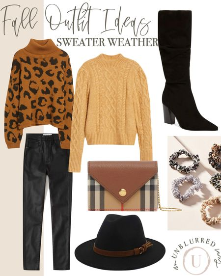 Classic fall outfit ideas for women! Love leopard with leather pants and this mustard yellow sweater is a winner too!   #LTKstyletip #LTKFall #LTKunder100