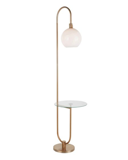 """A chic mix of materials creates a contemporary look that will fit any room. The Silver Orchid Trombone Tray Table Floor Lamp is the perfect size for smaller spaces. With a gold frame, attached tempered glass table, and white round sconce, this floor lamp will look great next to any sofa, accent chair, or even in a bedroom.  Features:  Includes: 1 floor lamp + 1 LED bulb Color: Gold Metal + Clear Glass + White Plastic Materials: Metal, Tempered Glass, Plastic Contemporary-Glam styling Round white sconce Round glass table top Gold metal frame In-line foot switch One (1) LED bulb included Indoor use only Dimensions:  17.75""""L × 16""""W × 70.5""""H  Lamp Head Height: 52"""" Base Length: 10.5"""" Base Width: 10.5"""" Shade Length: 9"""" Shade Width: 9"""" Shade Height: 8.5""""    http://liketk.it/3hJ0R #liketkit @liketoknow.it #LTKhome #LTKsalealert #LTKfamily @liketoknow.it.home"""