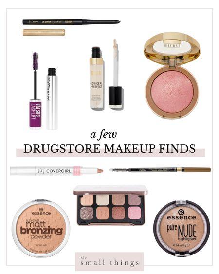 I found some great drugstore makeup finds recently! Neutral palette, browns, pinks, eyeshadow, bronzer, highlighter, blush, pink blush, mascara, concealer   #LTKunder50 #LTKbeauty