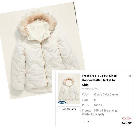 Old Navy Sale! Everything is 50% OFF  Girls Puffer Coat with Faux Fur Collar   #LTKsalealert #LTKunder50 #LTKkids