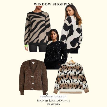 Finding cute brown & black animal print sweaters for this fall    #LTKworkwear #LTKunder100 #LTKSeasonal
