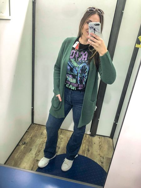 This cozy cardigan from Old Navy is a must! Also, these high waisted bootcut jeans are very comfy! They take me back to my high school days! Lol.   #bootcut #cardigan #oldnavy #midsize #comfy #casual #graphictee   #LTKstyletip #LTKcurves #LTKunder50