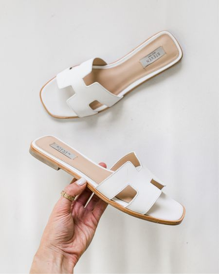 My go-to summer sandals lately. I have them in tan too. They run true to size, but if you have a very wide foot, they may be a little narrow for you!   #LTKDay #LTKunder100 #LTKshoecrush
