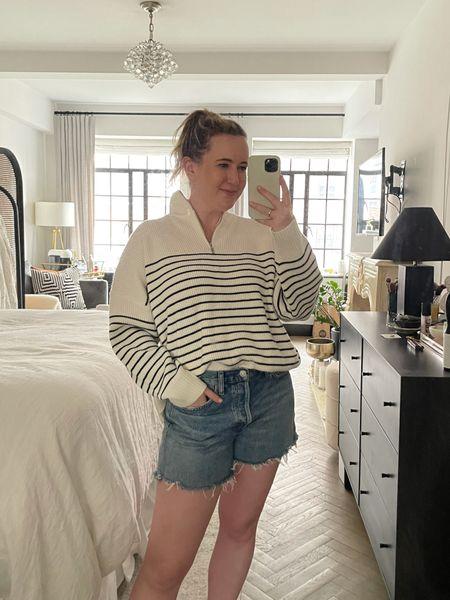 Striped pullover sweater from Mango (M)  Agolde Parker denim shorts (28)  #LTKunder100 #LTKstyletip
