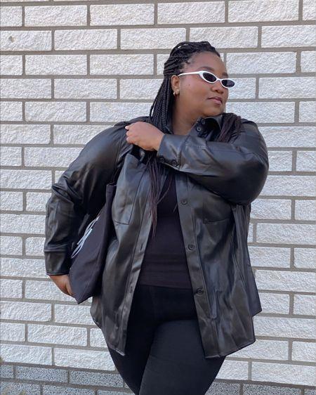Plus-size leather shirt/jacket   #LTKcurves #LTKstyletip #LTKunder50