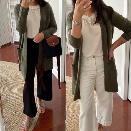 Sharing a few #nsale reviews on the blog including this olive cardigan (size XXS). 👉🏻 https://www.whatjesswore.com/2021/07/longchamp-mini-le-pliage-canvas-backpack-review-a-few-nsale-reviews.html    #LTKstyletip #LTKsalealert #LTKunder100