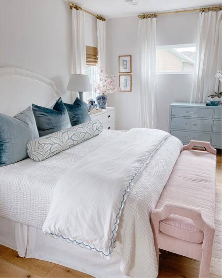 My goal when designing our bedroom was for it to feel light, airy and soothing. I added color and texture with velvet euro pillows, a printed bolster pillow and a scalloped duvet cover with blue trim. Our bedroom truly feels like a retreat and I love how calming the color palette is! Shop our bedroom by finding me (@veronabrit) in the LIKEtoKNOW.it app! http://liketk.it/3fmlG #liketkit @liketoknow.it #LTKhome @liketoknow.it.home