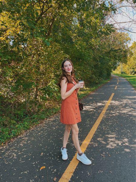 Summer to fall outfit! Madewell dress is an xxs 🍂  #LTKunder100 #LTKunder50 #LTKSeasonal