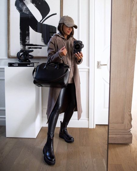 Fall outfit ideas  Nordstrom brown coat Treasure & Bond hoodie Marc Fisher lug sole boots   #LTKshoecrush #LTKsalealert #LTKSeasonal