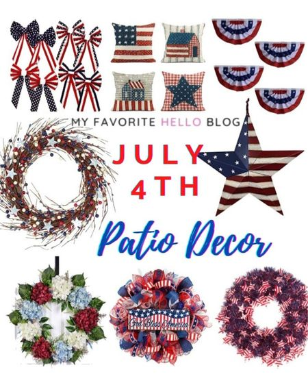 Fourth of July patio and deck decor. Fourth of July home decor. July 4th decorations in red, white and blue. Stars and Stripes decor  #LTKunder50 #LTKhome #LTKunder100 #july4th #homedecor #fourthofjuly http://liketk.it/3g6f6 #liketkit @liketoknow.it