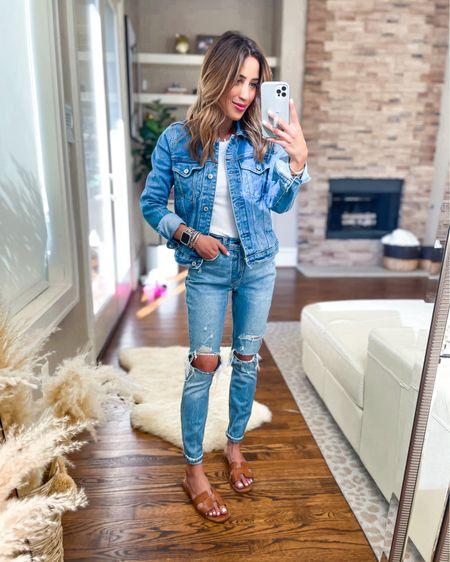 Denim jacket size Xs, jeans size 24 short on sale http://liketk.it/3hpk7 #liketkit @liketoknow.it #LTKunder100 #LTKunder50 #LTKsalealert