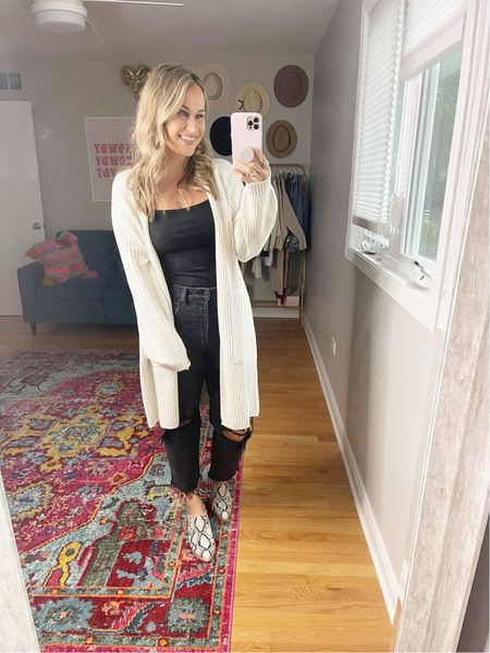 Fall outfit ideas from Target: This entire outfit is target finds. My long cardigan, black bodysuit and mom jeans! also linked these snakeskin mules, not target, under $50! wearing a medium in everything and a size 6 in these black jeans.  #LTKshoecrush #LTKstyletip #LTKunder50