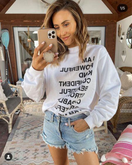 Anine Bing sweatshirt xs + Agolde shorts fits tts     #LTKSeasonal #LTKstyletip