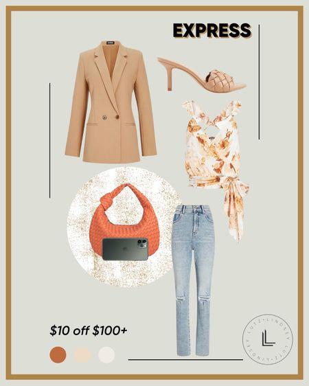 #LTKSALE - Express Sale, fall outfit ideas, fall blazer, floral wrap top, braided heels   #LTKSale #LTKsalealert #LTKstyletip
