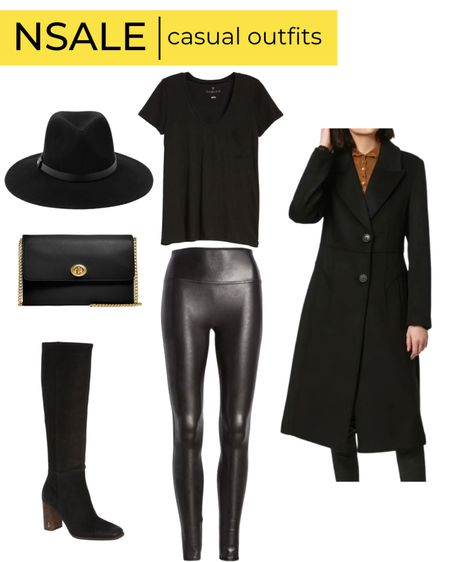 NSale coat Spanx faux leather leggings black knee high boots black felt hat black crossbody bag   #LTKsalealert #LTKshoecrush #LTKstyletip