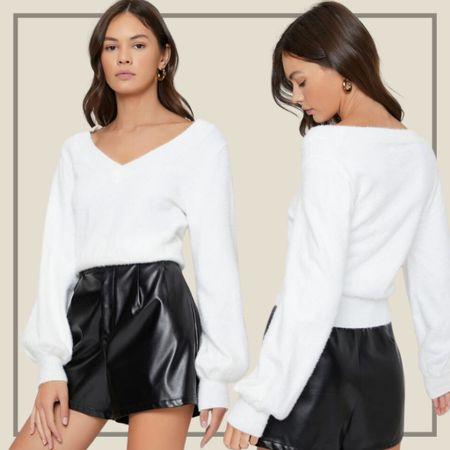White basic fuzzy sweater from Shein   #LTKstyletip #LTKunder50