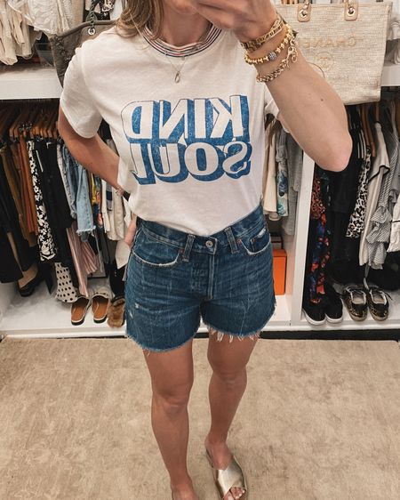 Trying to be a kind soul to everyone in my household! It's hard!!! I'm working on it! My quarantine style has evolved from loungewear to graphic tees and mom denim! 🙌🏻 I'll probably be back in loungewear or athleisure tomorrow though! Love this tee from @target and these high rise cutoffs that are 30% off now! #LTKunder100 #LTKunder50 #LTKsalealert Shop my daily looks by following me on the LIKEtoKNOW.it shopping app http://liketk.it/2MkLK #liketkit @liketoknow.it
