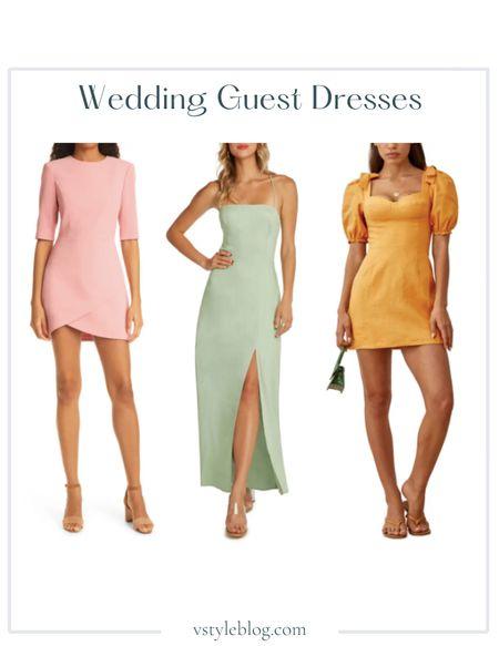 Wedding Guest Dresses, Summer Dress, Maxi Dress, Mini Dress  Alice + Olivia Crepe Sheath Dress ($350), Willow Low Back Maxi Dress ($138), Reformation Spring Bow Sleeve Dress ($248)  #LTKSeasonal #LTKwedding #LTKfit