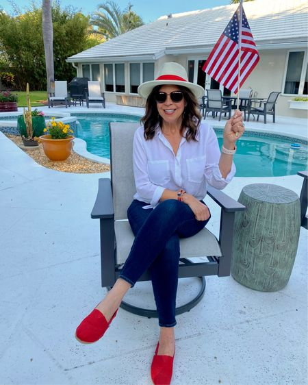 Patriotic vibes perfect all year round!  http://liketk.it/3gwXC @liketoknow.it #liketkit   Love my white button-ups, always, and added my red Tom's flats and Chico's jeans for a red, white, and blue vibe. Don't forget the Lamzon hat!  Link for button-up in bio - Grayson! Save $25 with my code. See link for more info.   #mystylemyway #bechic #beyou #beyourbestself #ageisjustanumber #aginggracefully #agelessstyle #liketoknowit #ltkstyletip #ltkunder50 #ltkfashion #ltkspring #gwenliveswell #onlineshopping #onlineboutique #lovechicos #styleover60 #styleover50 #styleinspiration #shareootdinspirations #workyourbeautytour #letsdothis #womenoftoday #ig50community #gwenliveswell