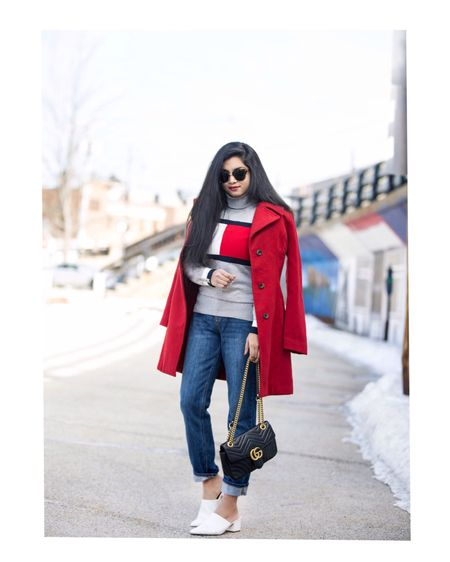 Feminine and flattering!❤️ A red coat over a turtleneck sweater is a look I always appreciate!❤️ @tommyhilfiger  Outfit details- http://liketk.it/2zB7q #liketkit @liketoknow.it  You follow me on the LIKEtoKNOW.it app to get the product details for this look and others!