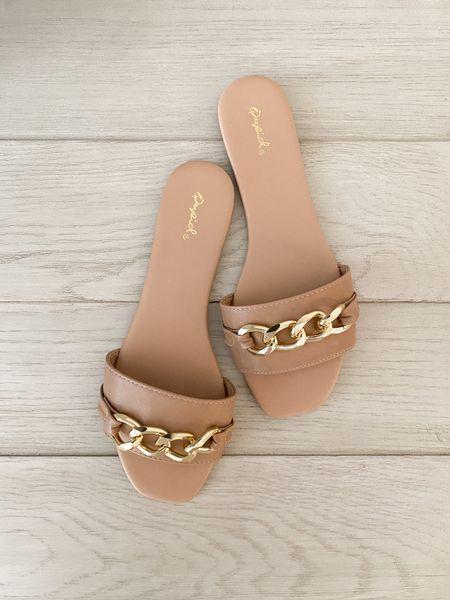 Gold chain sandals ($15)  #LTKunder50