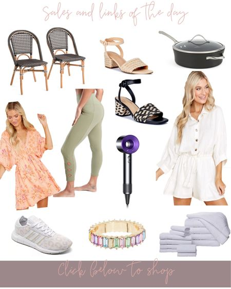 Sales & links of the day! 🤍🥰 Two indoor/outdoor French inspired bistro chairs under $200, cutest little jute sandal/heel options for summer are under $40, calphalon Pan under $40, a summer dress option in the perfect orange color, athlete leggings discounted, Dyson blow dryer on sale, adidas leopard running shoes/sneakers on sale, set of 14-piece Turkish towels under $80 in multiple colors, white romper & more! All linked below #liketkit http://liketk.it/3gPw4 @liketoknow.it #LTKsalealert #LTKunder100 #LTKhome