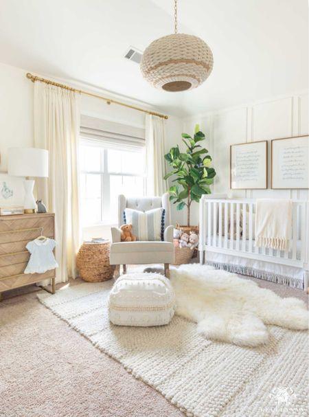 It's almost time to add Christmas to our neutral nursery. Home decor nursery decor girl nursery white cane crib macrame crib skirt basket pendant nursery rocker fiddle leaf fig   #LTKhome #LTKstyletip #LTKbaby