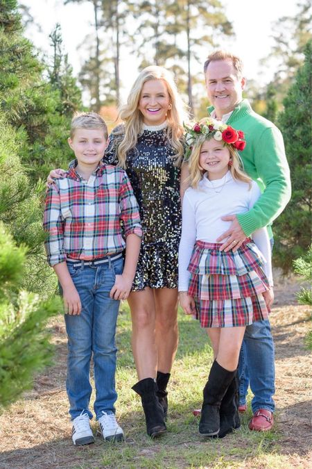 Family photo outfits from Nordstrom Rack and J.Crew. Tartan plaid and my $40 sequin dress are the perfect combo.   #LTKHoliday #LTKfamily #LTKunder50