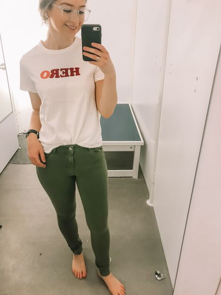 Love this Hero top for international women's day. It runs a bit tight, so I sized up one. These army green jeans fit true to size! Love these old Navy spring arrivals!   http://liketk.it/2AoIV #liketkit @liketoknow.it #LTKunder100 #LTKstyletip #LTKunder50 #LTKsalealert