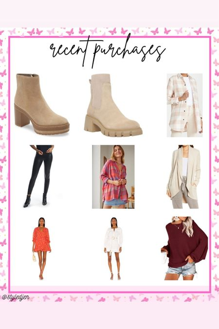 Recent buys - Nordstrom anniversary sale Steve Madden boots, barefoot dreams cardigan, commando faux leather leggings, amazing sweater, shacket, revolve dresses    #LTKsalealert #LTKunder50 #LTKunder100