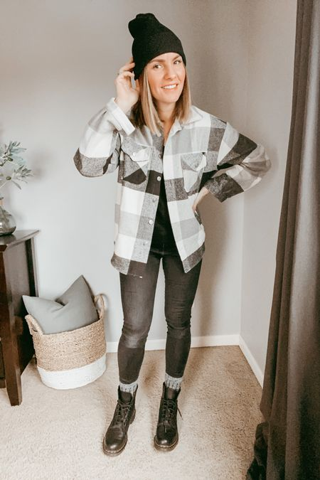 Style Dr Martens Combat Boots with a Shacket and Beanie for a Casual Look. http://liketk.it/38FDT #liketkit @liketoknow.it #LTKunder50 #LTKstyletip #LTKSeasonal #shacket #combatboots #boots #casualstyle #casual #ootd #momstyle