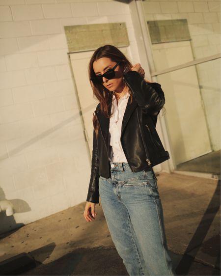 The perfect essentials Black leather jacket  Tomboy cotton shirt Closed denim  http://liketk.it/3ilV9 #liketkit @liketoknow.it