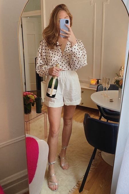 birthday outfit 🥳 rolled up these shorts a little for a cuter look, top is from Zara, and shoes are on majorrrr sale + so comfy!! loved this outfit   #LTKunder50 #LTKstyletip #LTKsalealert