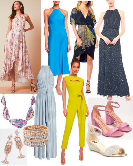 Do you need a wedding guest dress this summer? Here are midi dresses, maxi dresses, jumpsuits, comfortable dancing shoes and fun costume jewelry to wear.   #LTKstyletip #LTKunder100 #LTKSeasonal