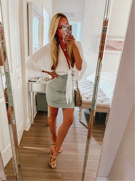 5 minutes to get ready 😅 Loving an easy go-to throw on look when I have zero time!! Linking the skirt and a similar top—will link more later after dinner and my 🍷 😂 #thesunnyblonde #skirt #summerstyle    #LTKunder50