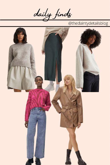 Blazer dress  Midi skirt Fall sweaters Cozy sweaters  Satin midi skirt Faux leather dress   #LTKSeasonal #LTKunder50 #LTKsalealert