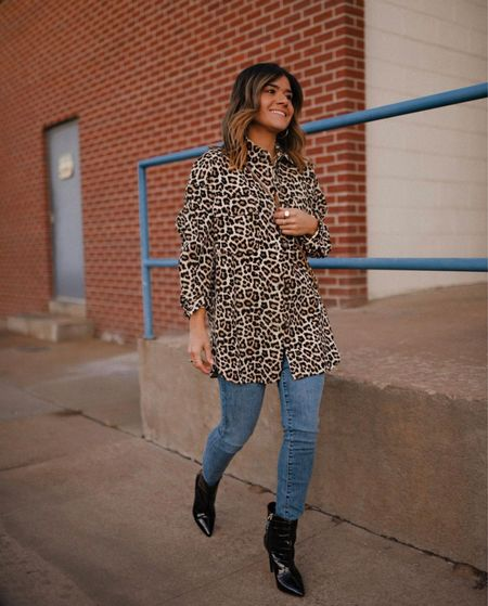 Fall outfit, fall fashion, fall style, animal print shacket, booties, black booties  #LTKHoliday #LTKunder50 #LTKshoecrush