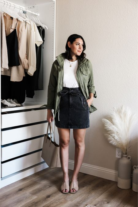 Full capsule wardrobe is on the blog! I'm in the medium of the tee, TTS. Medium of the anorak — it's under $50 and going fast! I'm in the 8 of the skirt. tTS but tight in the waist.   #LTKunder50 #LTKunder100