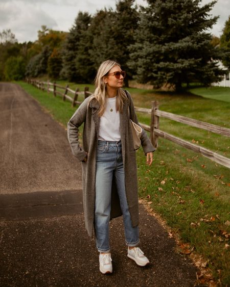 Duster cardigan, white tee, relaxed jeans, comfy sneakers, mom outfit   #LTKSeasonal