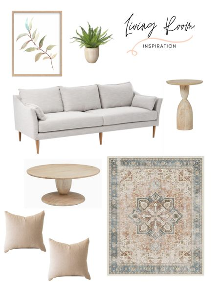 Living room decor inspiration. Loving this soft and organic design. The sofa, end table and rug definitely make this design com together. Shop the look: http://liketk.it/3k23e #liketkit @liketoknow.it @liketoknow.it.home @liketoknow.it.family #LTKhome #LTKfamily #LTKstyletip