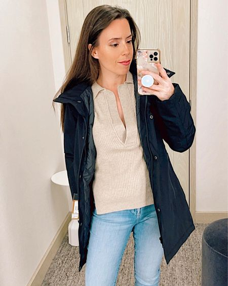 Parka jacket in size Small, North Face waterproof parka, skinny jeans in size 26, Frame jeans, ribbed sweater in size XS, Nanoushka, Nordstrom sale, NSale, fall outfit, winter jacket, parka, casual outfit,    #LTKstyletip #LTKsalealert