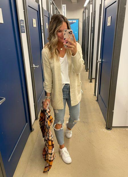 Old navy cardigan and old navy outfit Abercombie jeans #oldnavy #jeans #denim #falloutfit #cardigan   #LTKsalealert #LTKstyletip #LTKunder50