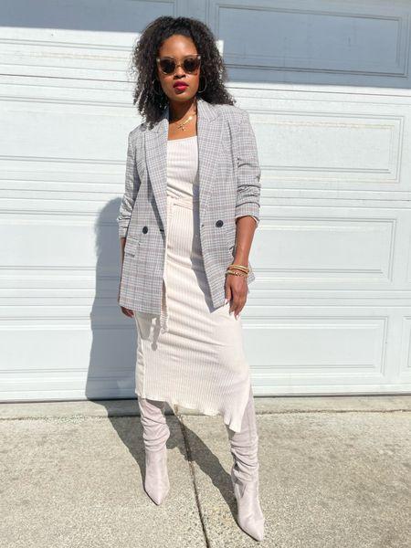 Wear to work Fall day!   Here a great fall day look!  Original look:  Blazer: Zara Dress: Topshop Boots: ASOS  Glasses: Celine   #LTKshoecrush