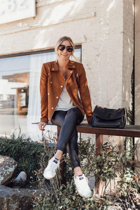Camel faux suede moto jacket with leather leggings and golden goose 🖤  #LTKSeasonal #LTKstyletip #LTKunder100