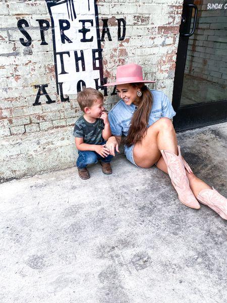 Pink cowgirl boots - blush hat - denim romper   #LTKshoecrush #LTKstyletip #LTKfamily