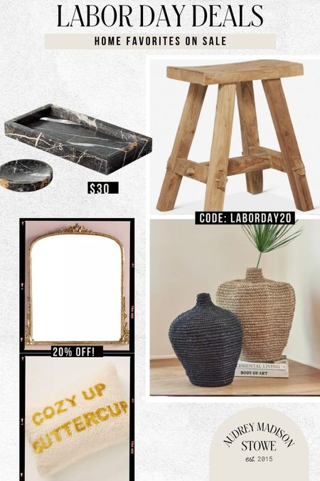 Chic and neutral home favorites on sale! I have the black bath tray and it's soooo nice! Great wooden stool and even the Anthro mirror is on sale!   #LTKhome #LTKstyletip
