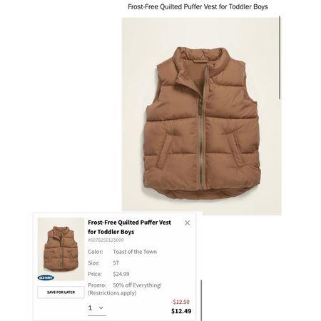 Boys Puffer Best! On Sale for 50% OFF at Old Navy!   #LTKFall #LTKkids #LTKsalealert