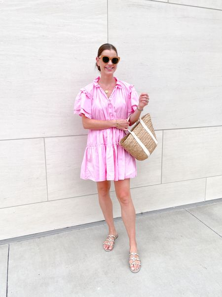 Weekend 💕 dress is from @shopminetteboutique and everything else is linked! #ootd #fashion #summer #kayu #valentino #lespecs #weekend #saturday   #LTKitbag #LTKunder100 #LTKshoecrush